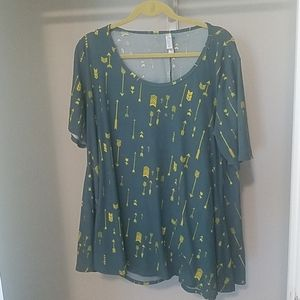 Lularoe green and yellow arrows blouse